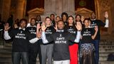 "NEW YORK, NY - DECEMBER 14:  (L to R) ""Selma"" actors E. Roger Mitchell, Wendell Pierce, Omar Dorsey, John Lavelle, Stephan James, Kent Faulcon, David Oyelowo, Lorraine Toussaint, director Ava DuVernay, Tessa Thompson, Andre Holland, and Colman Domingo wear ""I Can't Breathe"" t-shirts to protest the death of Eric Garner at the New York Public Library on December 14, 2014 in New York City.  (Photo by Ray Tamarra/GC Images)"