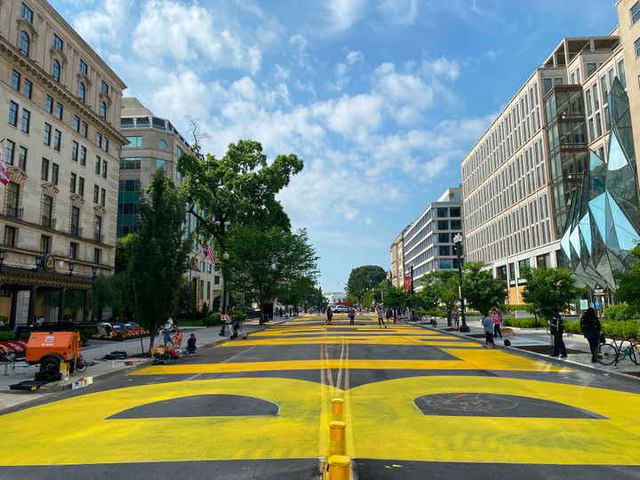The district government ordered streets near the White House painted with a giant Black Lives Matter sign on Friday. The stre
