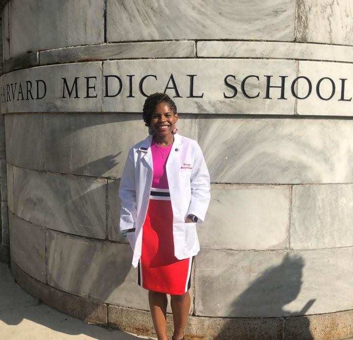 The author at her white coat ceremony at Harvard Medical School.