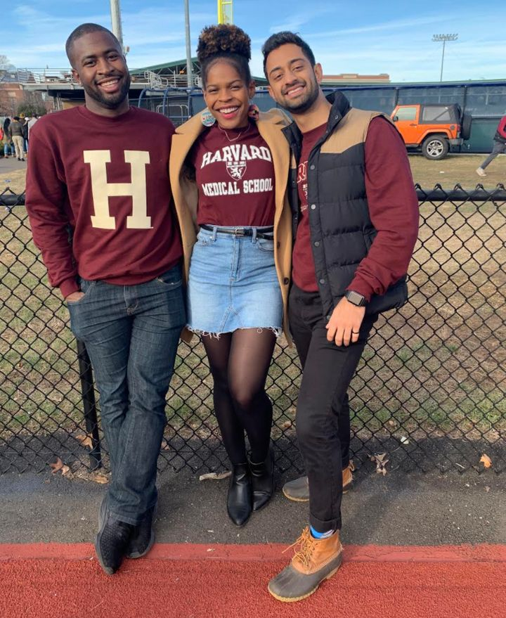 The author with her friends at a tailgate. Both friends are important components of her support system as a Black woman at Ha
