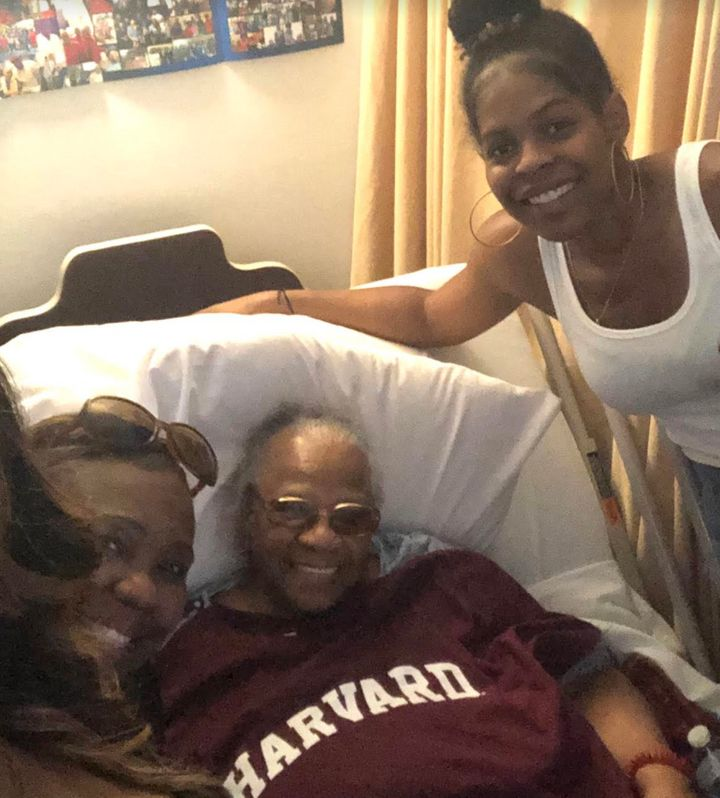 The author and her family visiting her great-grandmother (center) at her nursing home last summer. The author gave her great-