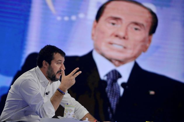 ROME, ITALY - OCTOBER 21: Former Vice Premier Matteo Salvini in front of a screen with the photo of Silvio Berlusconi during the television program l'Aria che Tira, on October 21,2019 in Rome, Italy. (Photo by Simona Granati - Corbis/Getty Images,)