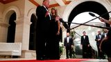 U.S. President Donald Trump accompanied by first lady Melania Trump, speaks to the press at the Mar-a-Lago resort in Palm Beach, Florida, U.S. December 31, 2019.    REUTERS/Tom Brenner