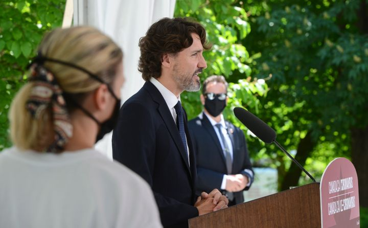 Canadian Prime Minister Justin Trudeau holds a press conference at Rideau Cottage in Ottawa on June 5, 2020.