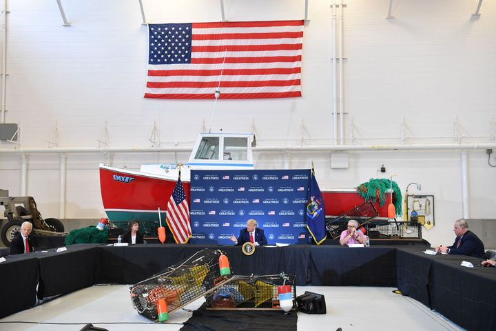 President Donald Trump joins a roundtable in support of commercial fishermen, in Bangor, Maine, on June 5.