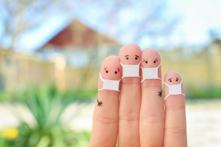 Fingers art of family with face mask.
