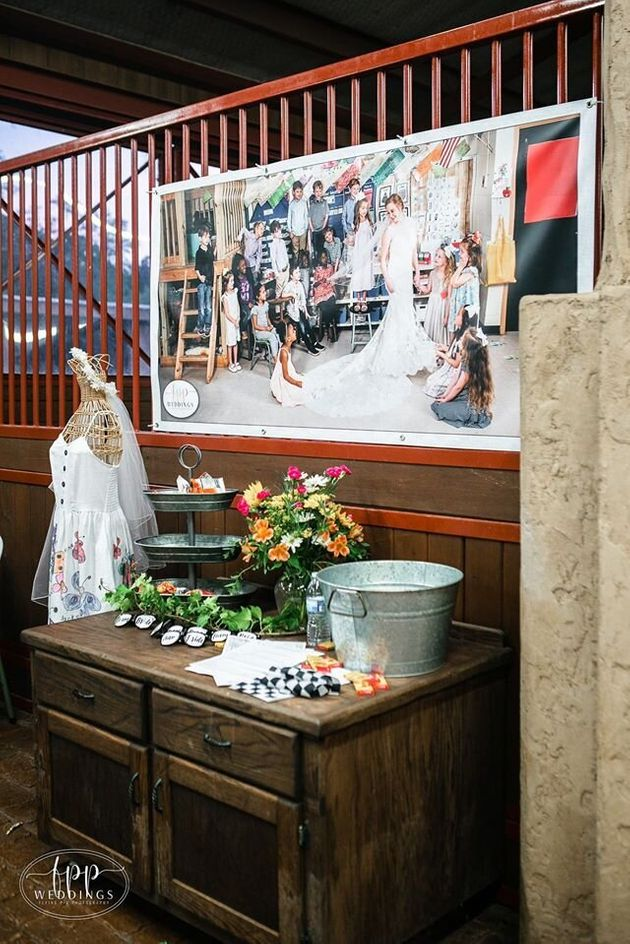 At Smith's wedding, she set up a table dedicated to her students.