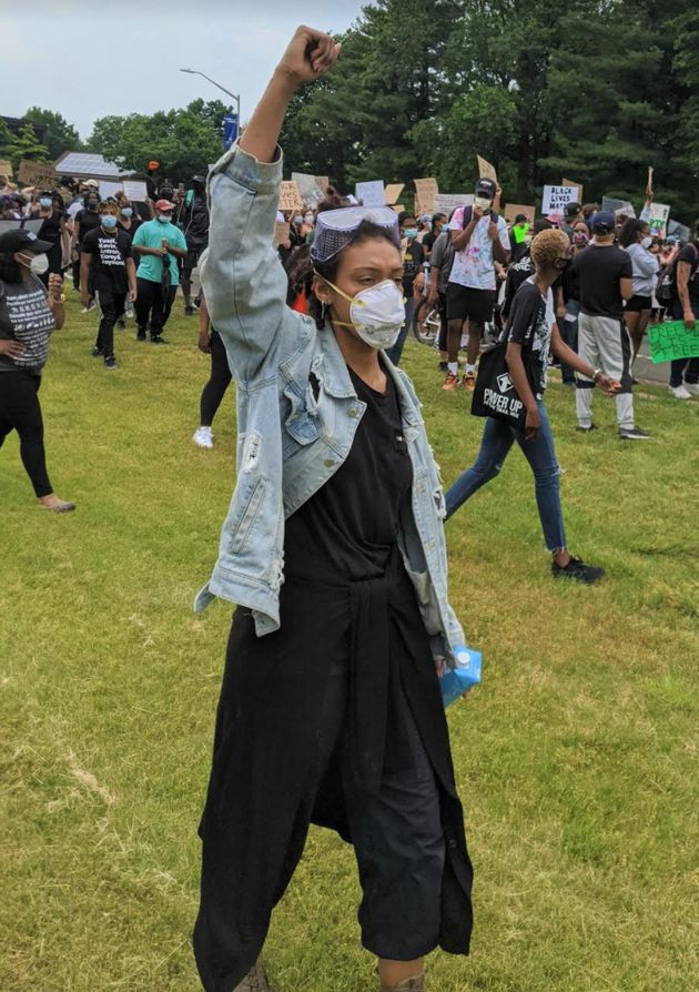 The author at a protest that took place in Hempstead, New York on June 5,