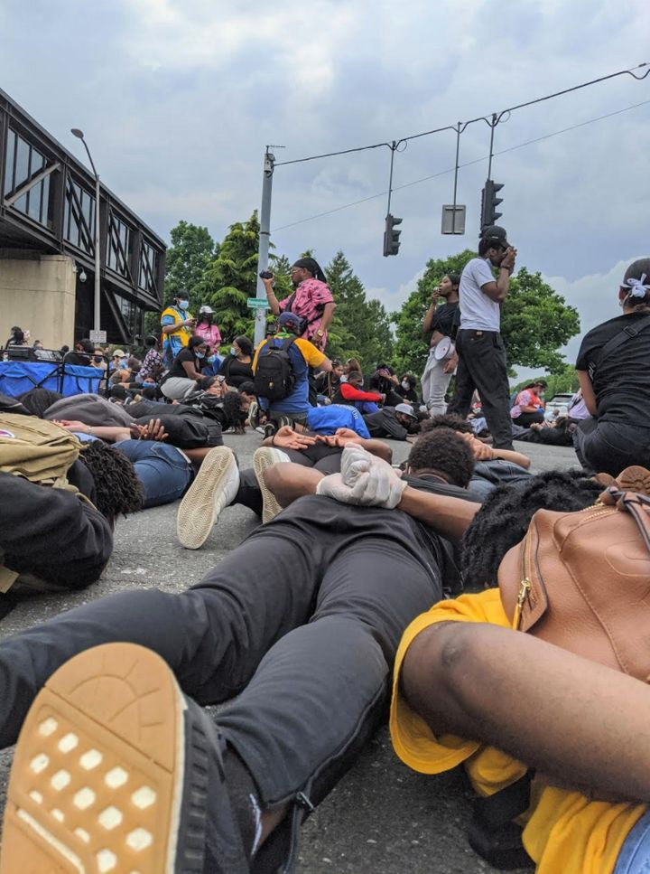 A photo taken by the author on the ground during an 8-minute silence for George Floyd at a protest that took place in Hempstead, New York on June 5, 2020.