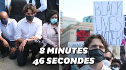 Justin Trudeau pose un genou à terre pendant une manif