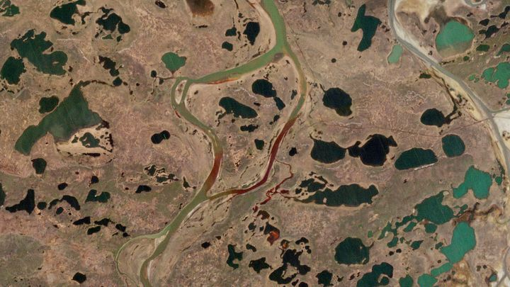 A European Space Agency photo taken on Sunday shows the extent of the diesel spill, in red.