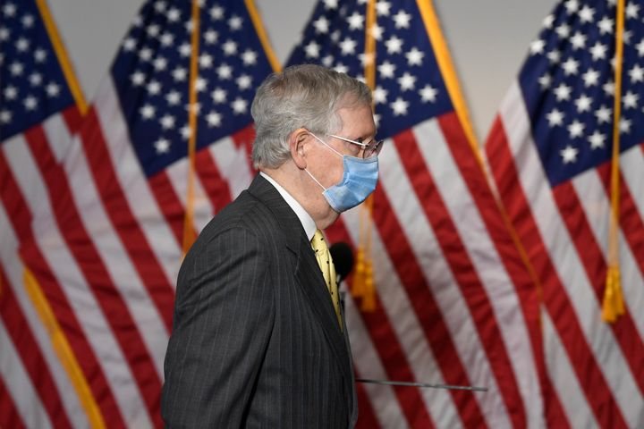 Senate Majority Leader Mitch McConnell of Kentucky, arrives for a Republican luncheon on Capitol Hill in Washington on June 4
