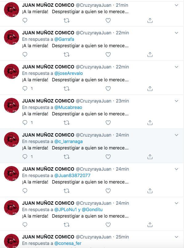Juan Muñoz contestando a sus críticos con la misma frase. Una y otra