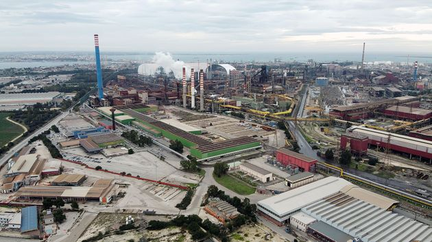 TARANTO, ITALY - APRIL 05: General views of Ilva plant on April 05, 2020 in Taranto, Italy. (Photo by...