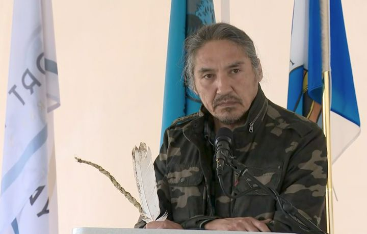 Chief Allan Adam is seen during a press conference in Fort McMurray, Alta. on June 6, 2020.