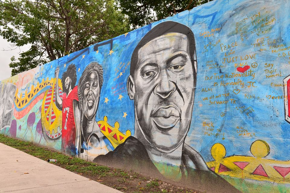 A mural of former NFL quarterback Colin Kaepernick and George Floyd in Miami,