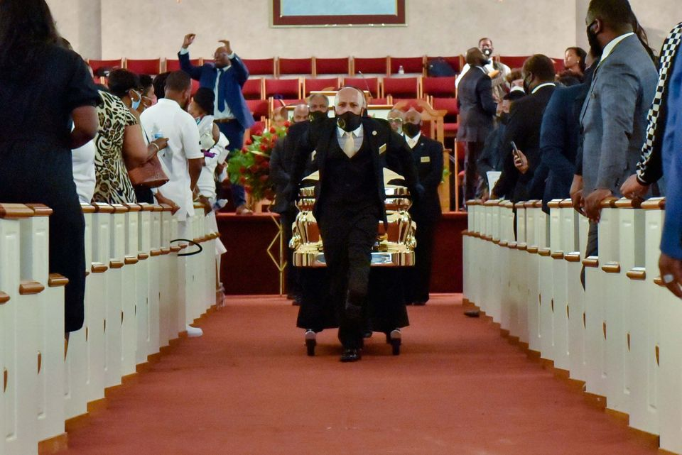 The casket is moved at the conclusion of the George Floyd Memorial at R.L Douglas Cape Fear Conference...