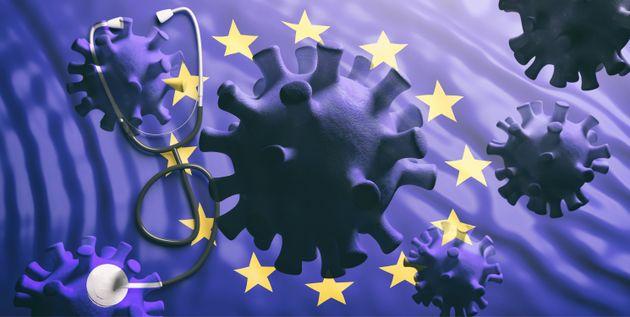 Coronavirus spreading to Europe, epidemic pandemic flu virus infection, EU flag background. 3d