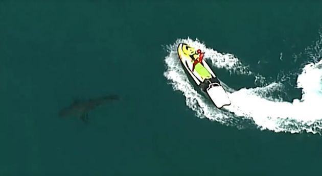 Aerial view of surf lifesaver on jet ski behind the