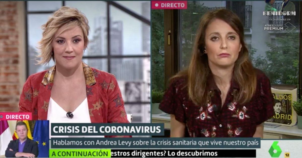 Cristina Pardo deja con esta cara a Andrea Levy tras esta pregunta sobre Álvarez de Toledo en 'Liarla Pardo'