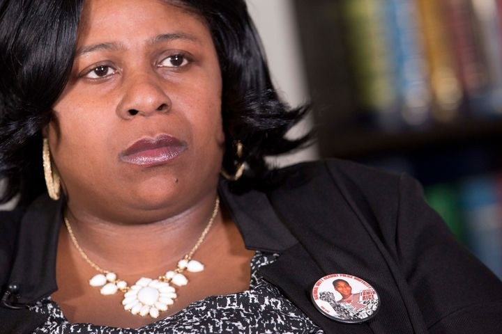 Samaria Rice wears a button with her son Tamir's photograph.