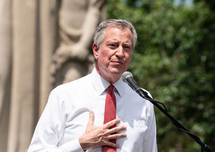 New York City Mayor Bill de Blasio speaks during a memorial service for George Floyd.