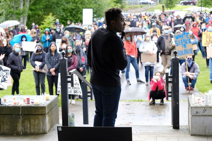 People gather during a We Are One rally at Simms Park in Courtenay, B.C. on June 5, 2020 in solidarity with the George Floyd protests across the U.S. as well as to draw attention to indigenous rights in Canada.