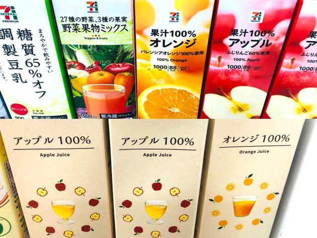 プライベートブランドのジュース類/セブンイレブン(上)、ローソン(下)