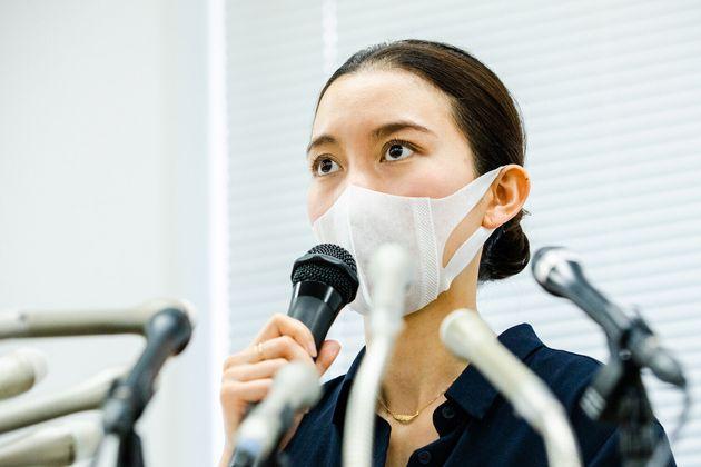 会見する伊藤詩織さん(2020年6月8日)