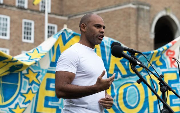The mayor of Bristol Marvin Rees pictured here speaking at a different demonstration outside City Hall...