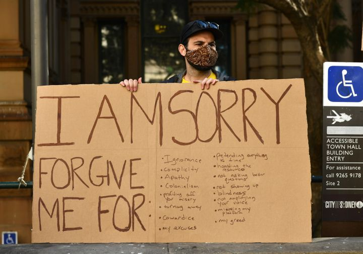A protester at the Sydney rally, organised to protest Aboriginal deaths in custody in Australia as well as in solidarity with protests across the United States following the killing of an unarmed black man George Floyd at the hands of a police officer in Minneapolis, Minnesota. (Photo by Izhar Khan/NurPhoto via Getty Images)