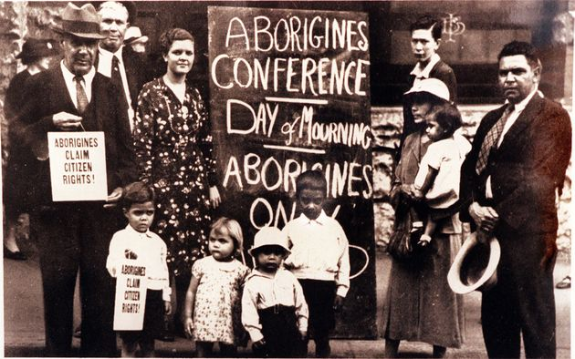 First Nations people gather at the Australian Hall to hold the first civil rights protest in Australia...