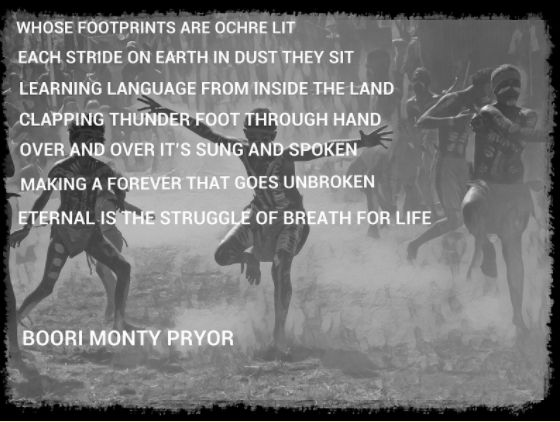 A poem by Boori Monty Pryor, note the initial of each letter spells out W-E-L-C-O-M-E.