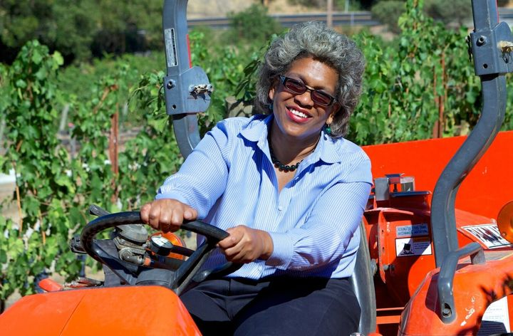 Theodora Lee tends to Theopolis Vineyards in California's Yorkville Highlands of the Anderson Valley.