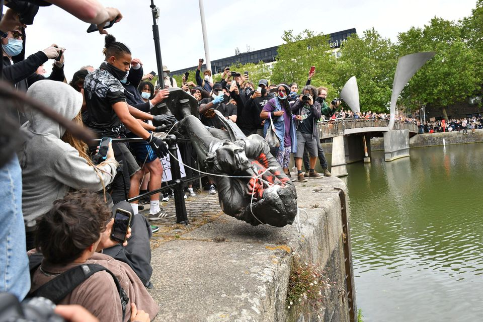 Colston's statue being hurled into the River Avon on