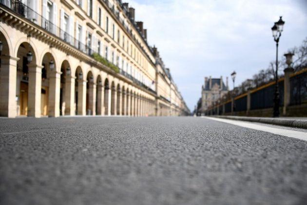 La rue de Rivoli à Paris, lors du confienement le 22 mars