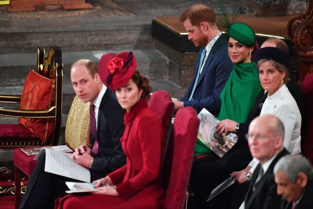 Harry and Meghan sit next to the Earl of Wessex and Countess of Wessex at the Commonwealth Day Service...
