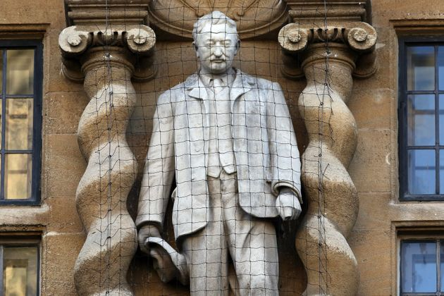 A statue of Cecil Rhodes is displayed on the front of on Oriel