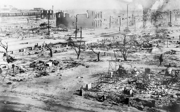 The aftermath of the destruction by white mobs that attacked Black residents and businesses of the Greenwood...