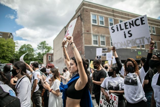 Protesters march against police brutality and racism in Montreal, on June 7,