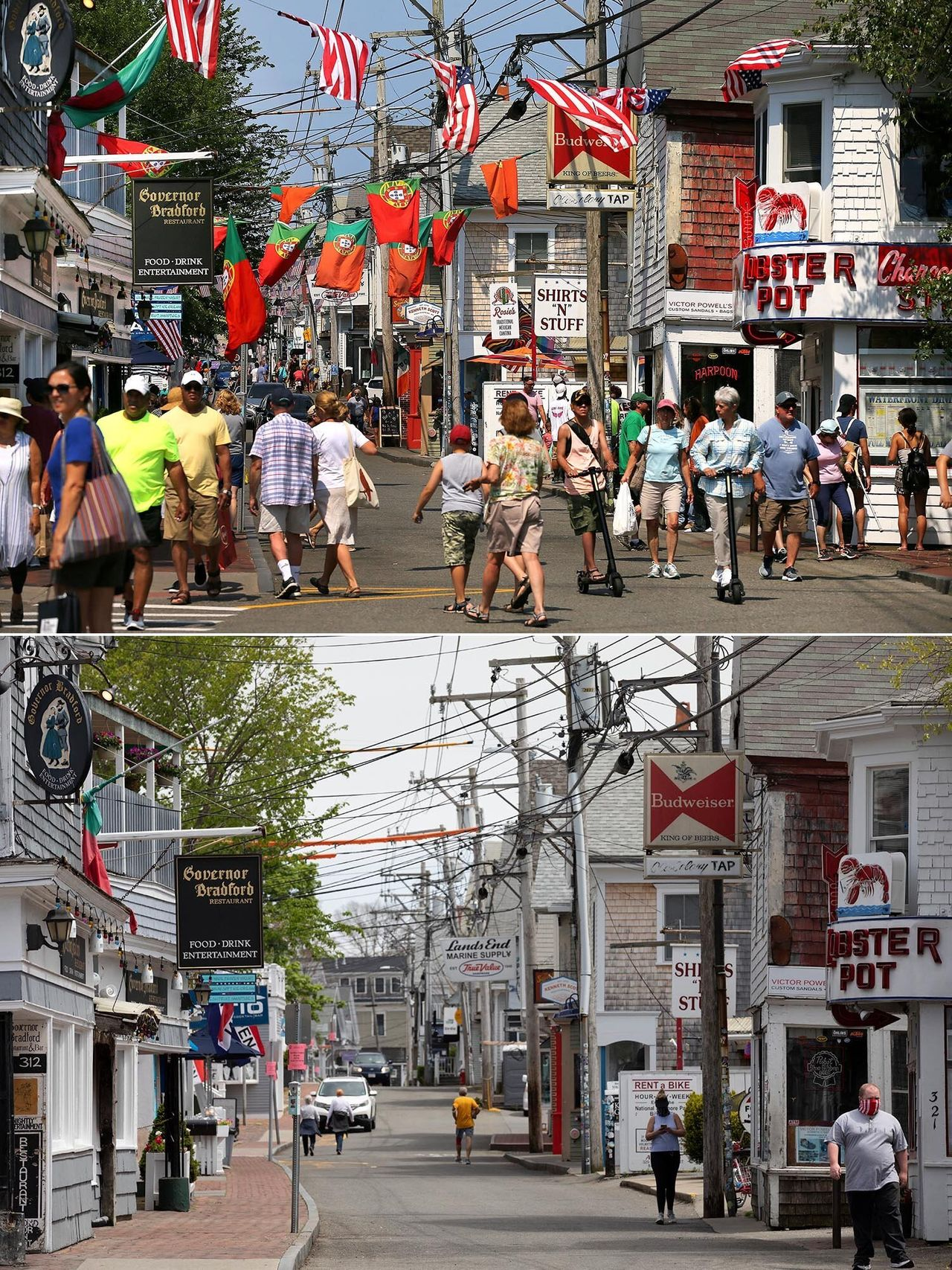 <strong>Top image:</strong> Crowds fill Commercial Street on July 10, 2019. <strong>Bottom image:</strong> Closed stores line the usually crowded Commercial Street on May 25, 2020.
