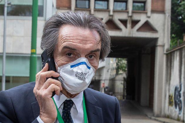 Lombardy region president Attilio Fontana arrives at the Lombardy Region headquarter, in Milan, Italy,...