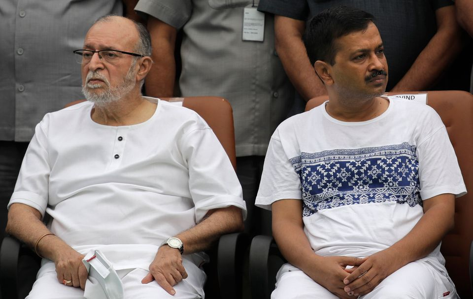 Delhi Lieutenant Governor Governor Anil Baijal, left, with Delhi Chief Minister Arvind Kejriwal in a...