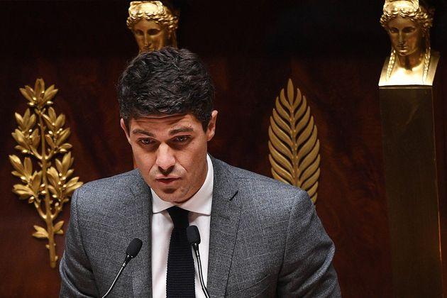 Le député Aurélien Pradié à l'Assemblée nationale, le 28 avril
