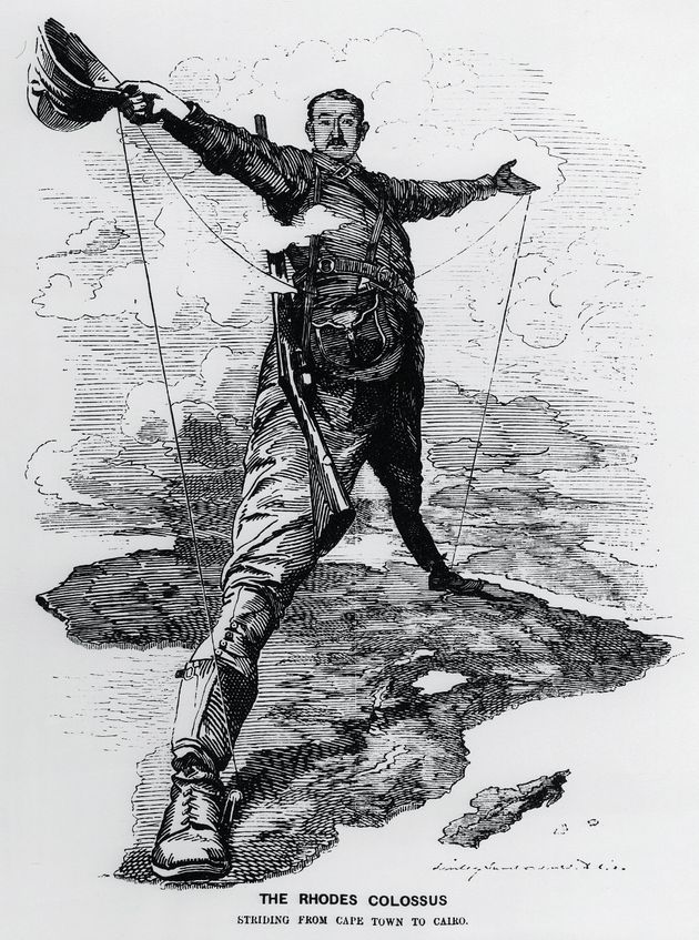 A portrait of 'The Rhodes Colossus', reflecting Rhodes' desire to build a railway across Africa from...