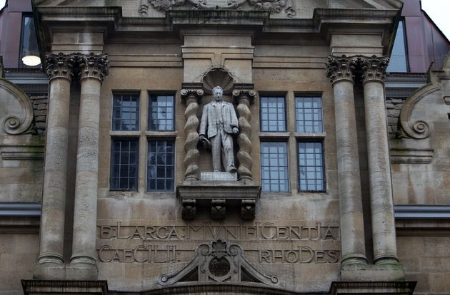 The statue mounted on Oriel college building of British imperialist Cecil