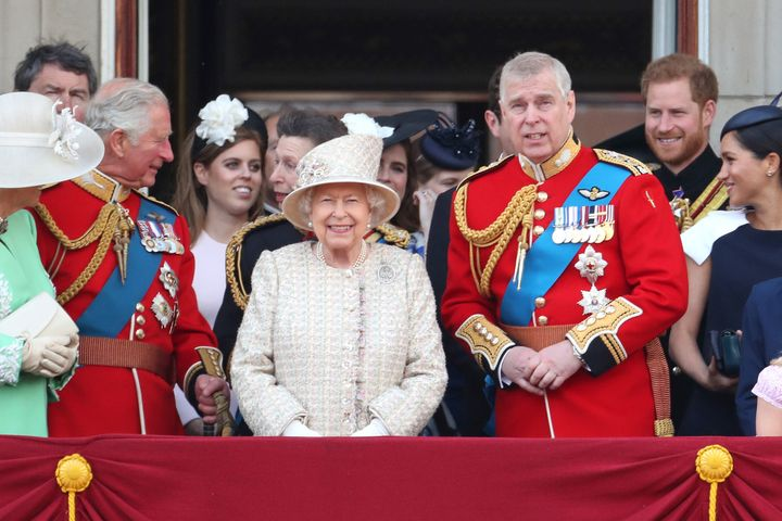 The royal family on the balcony of Buckingham Palace during Trooping The Colour, the Queen's annual birthday parade, on June