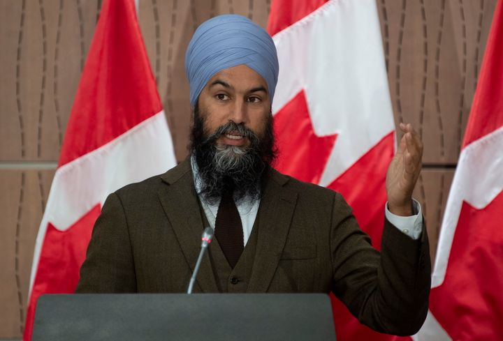 NDP leader Jagmeet Singh gestures during a news conference on June 9, 2020 in Ottawa.