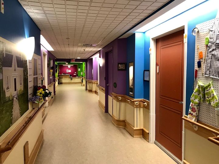A hallway at Sunnyside Home in Kitchener, Ont. with bright colours to improve residents' moods.
