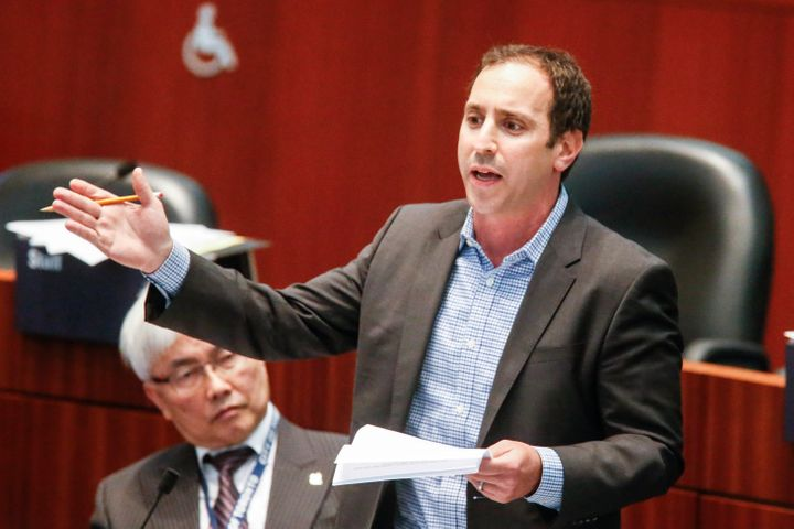 Toronto Councillor Josh Matlow speaks at city council in 2017.